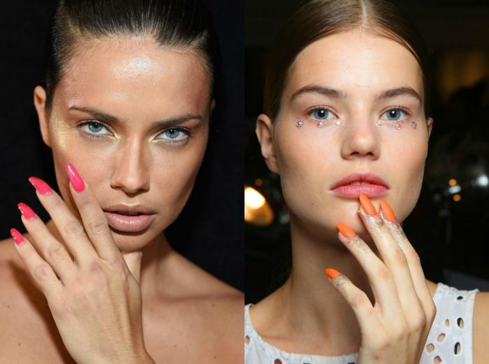ideas de diseños de uñas muy largas en colores modernos, uñas en forma de almendra en cyclamen y naranja neón con acabado mate