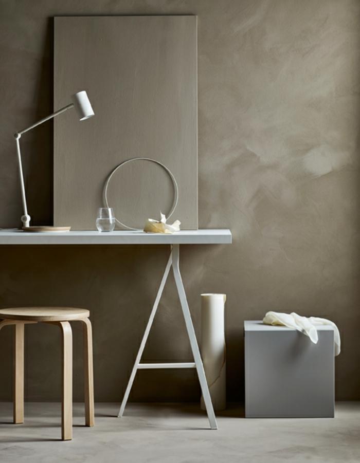 muebles modernos para salones minimalistas, paredes pintadas en beige y muebles pequeños, barra en blanco