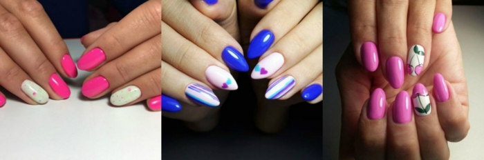 tres ejemplos de uñas con diseño divertido, uñas decoradas para primavera verano 2018, colores llamativos y dibujos de flores y corazones