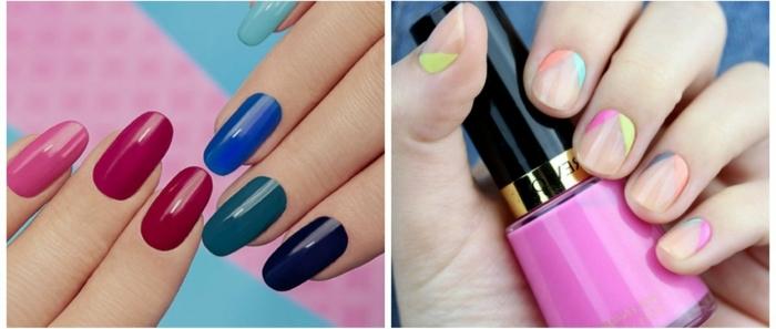 diseño de uñas precioso, dos ejemplos de uñas decoradas con más de un color, tonos actuales para la nueva temproada