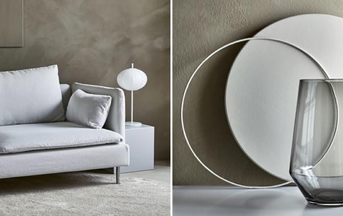 preciosas ideas para decorar los salones minimalistas, decoración en beige y gris, objetos decorativos minimalistas