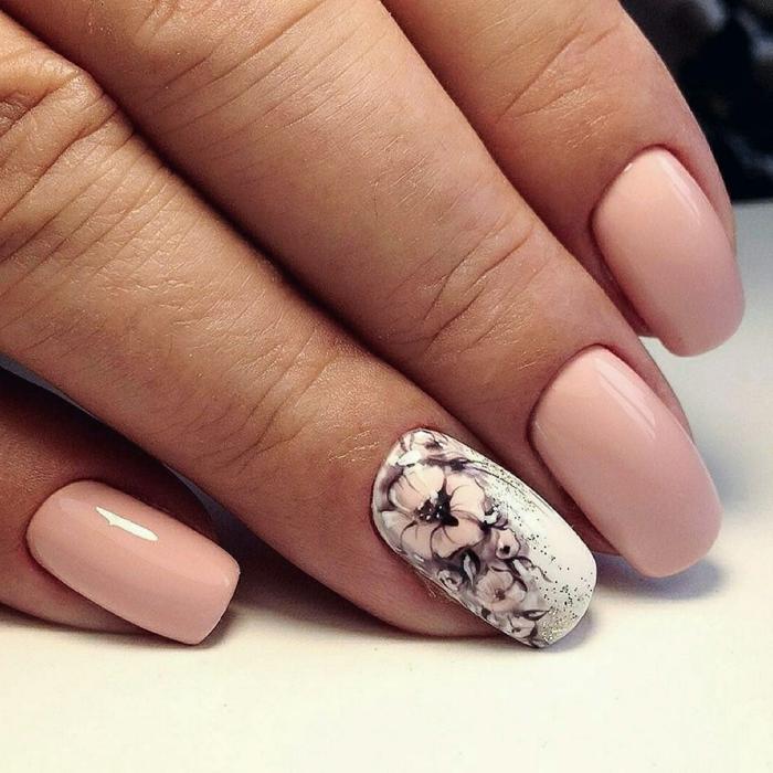 uñas decoradas con dibujos en colores pastel, uñas en forma cuadrada de longitud media con decoración de motivos florales