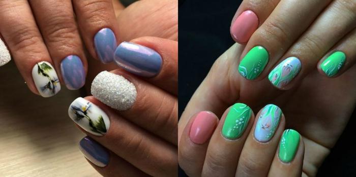 ideas encantadoras con motivos florales, uñas decoradas pintadas en azul reluciente, verde claro y color salmón, decoracion con motivos florales