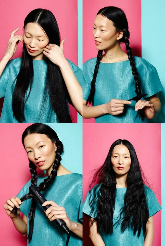 tutorial para hacer ondas en el pelo con unas trenzas y placha, como hacer ondas en el pelo paso a paso, mujer con cabello largo, negro y liso