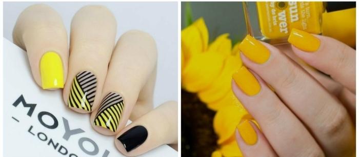 tonos actuales del amarillo, uñas decoradas en colores llamativos, elementos gráficos en negro, tendencias manicura 2018