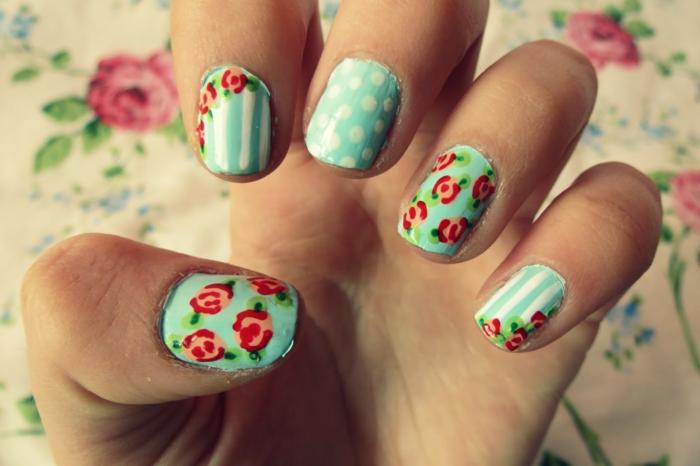 motivos florales, uñas con decoración perfecta para la primavera, uñas decoradas en color verde menta con dibujos