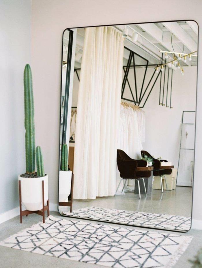 espejo muy grande en forma rectangular con bordes redondos, cortinas en color champan y decoracion de cactus, decoracion con espejos modernos