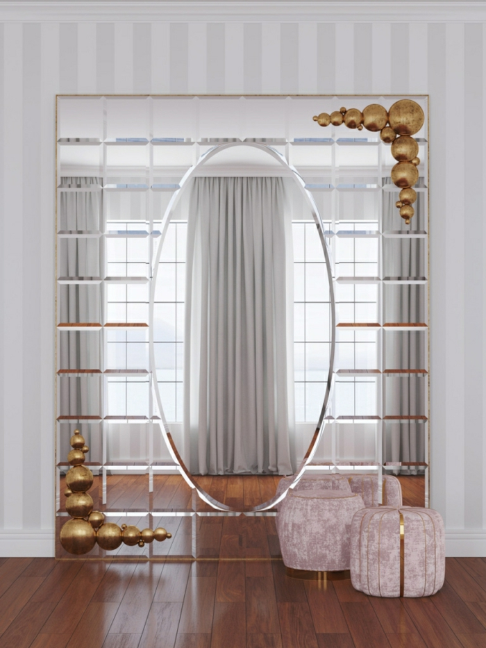 decoracion con espejos originales, interior en estilo vintage con sillas bajas tapizadas en terciopelo color rosado