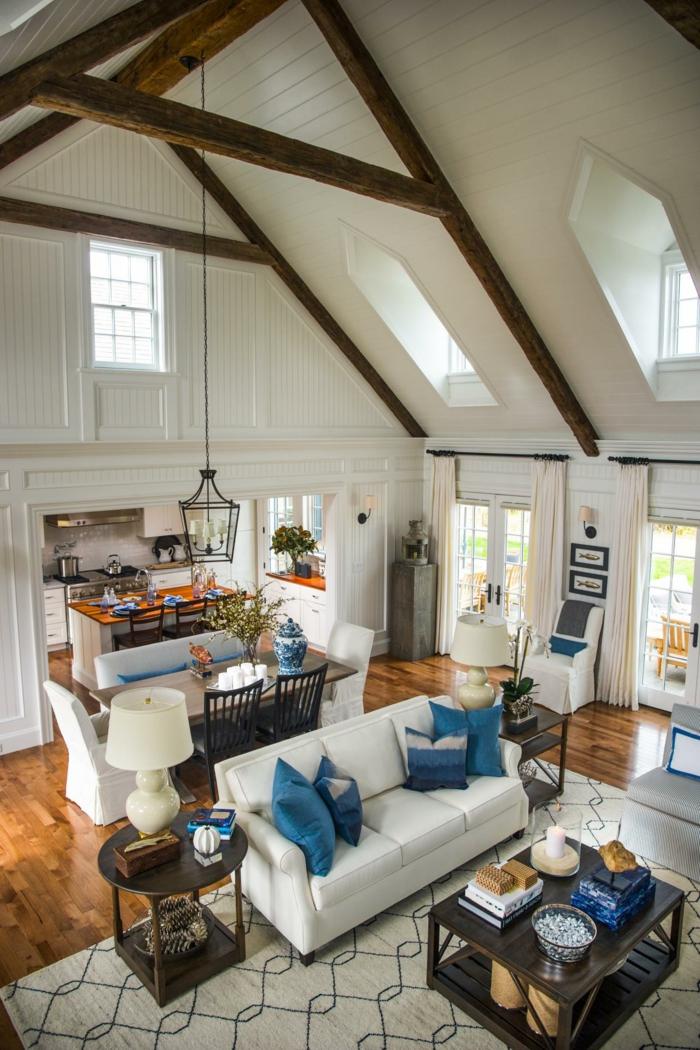 interior con cocina, salon y comedor en un solo espacio, cocinas abiertas al salon decoradas de manera encantadora, casa abuhardillada