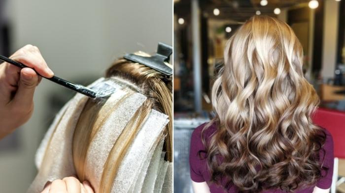 mechas californianas oscuras en pelo rubio dorado, técnica para hacer el balayage, ideas de peinados paso a paso