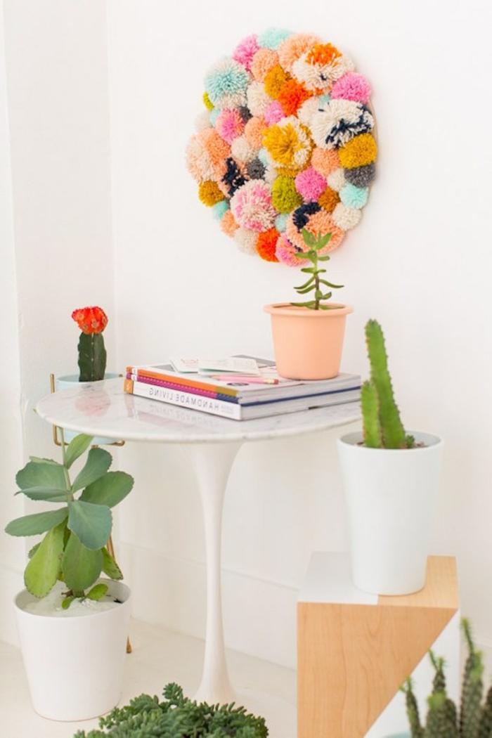 bonita decoración para la pared, cuadro decorativo en forma oval con bolas de hilo, manualidades con pompones originales