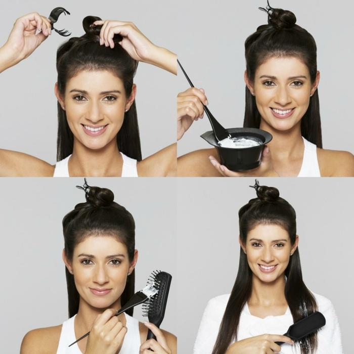 como conseguir mechas californianas en el pelo, instrucciones detalladas, cabello largo alisado en color negro