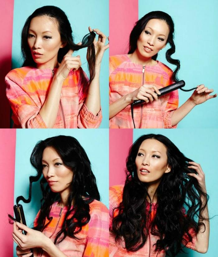 pasos detallados sobre como hacer ondas en el pelo, mujer con cabello largo liso en color negro, ondas de tamaño grande hechas con plancha