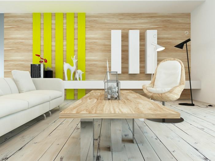 interior en colores claros con detalles en amarillo neon, mesa de madera de diseño sencillo, silla modera y sofá en color champán, salones minimalistas con aire de frescura