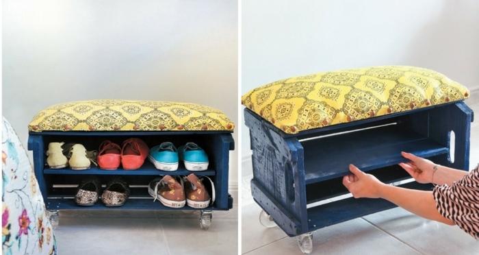 1001 ideas sobre decoraci n con cajas de fruta decoradas for Zapatero con asiento