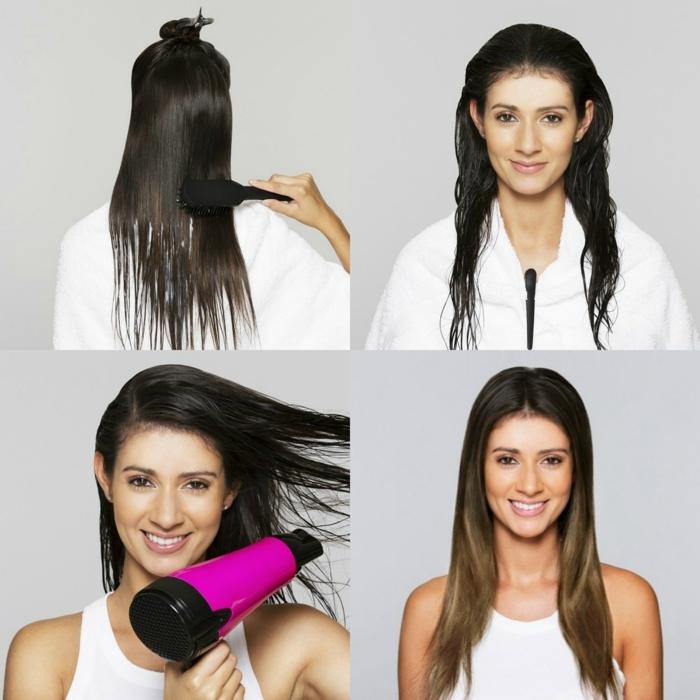 pasos detallados para conseguir pelo con balayage, cabello largo color castaño oscuro, mechas californianas más claras