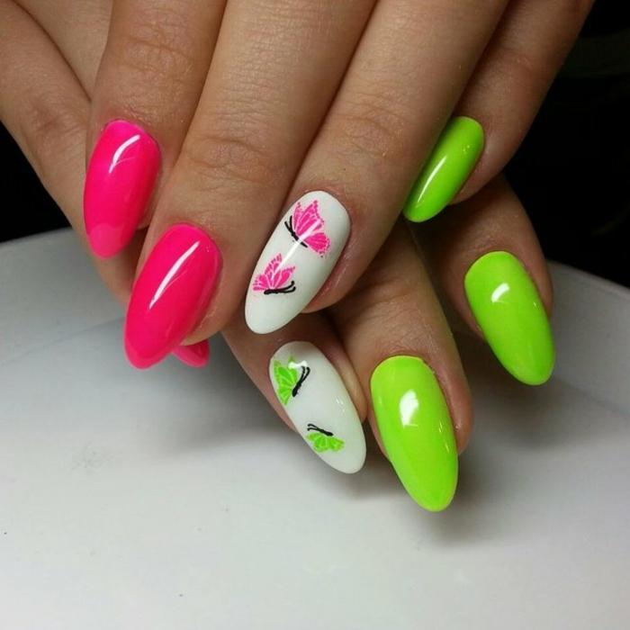 dibujos de mariposas, diseños de uñas en colores chillones, u;as largas en forma de almendra en cyclamen y verde neón