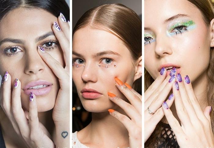 ultimas tendencias en el diseños de uñas, ideas coloridas y originales, uñas largas en forma de almendra