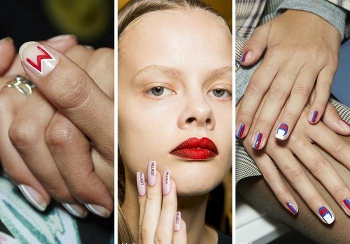 ejemplos de las ultimas tendencias en la manicura, diseños de uñas originales en azul, blanco y rojo, uñas largas en stiletto color rosa