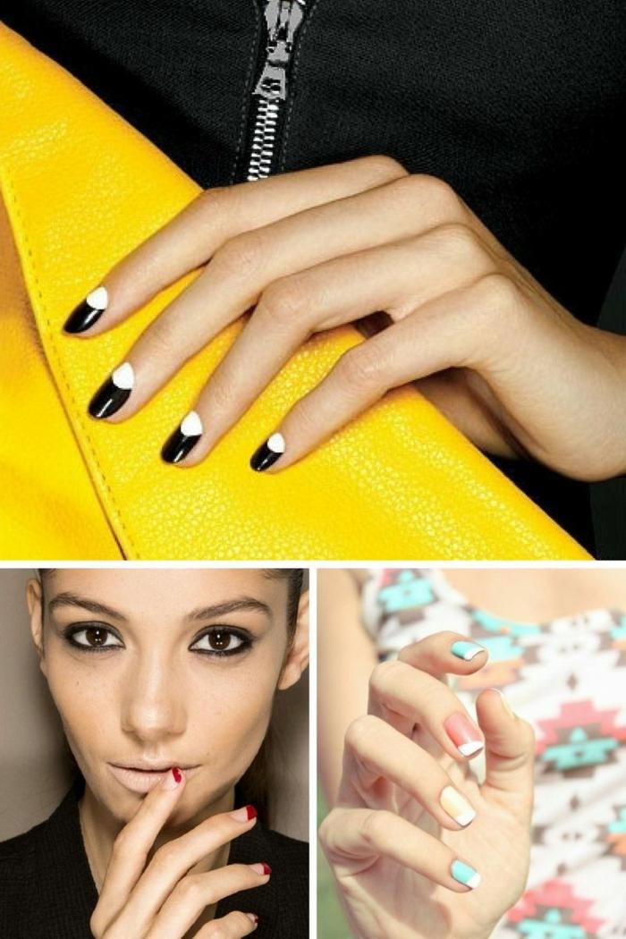 dibujos en uñas modernos, partes de color, manicura francesa reversa, ideas en tendencias para primavera verano 2018