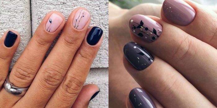 preciosos diseños de uñas con motivos florales, base en colores pasteles, menique y índice en azul oscuro