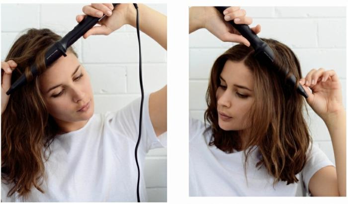 técnica de ondular el pelo con rizador, como hacer ondas en el pelo paso a paso, mujer con media melena color castaño cobrizo