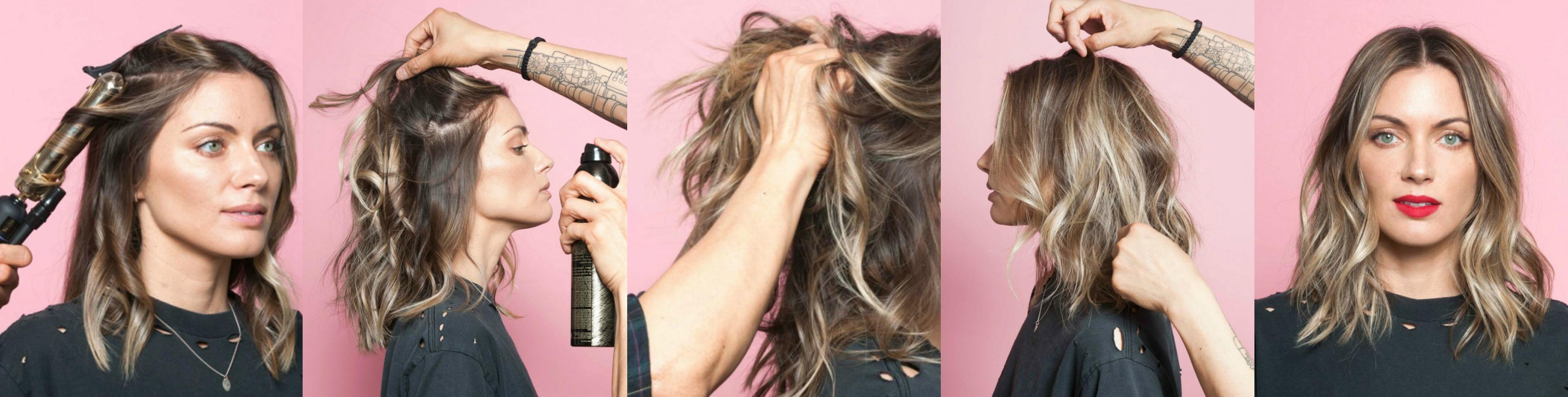 tutorial con fotos, pasos sobre cómo hacer ondas en el pelo con un rizador y laca que fija y da volumen al cabello, mujer con media melena rubia