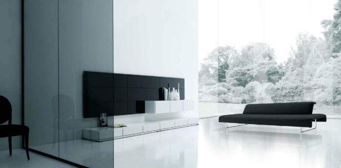 interior en blanco y negro en estilo minimalista, salones modernos con vista, muebles en negro y suelo de baldosas