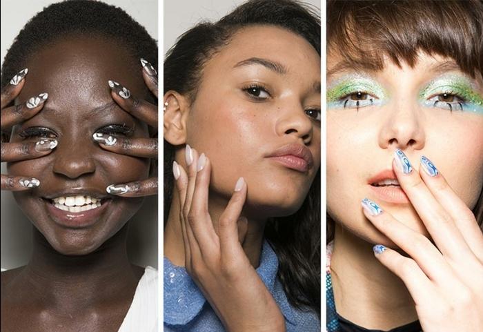 decoracion de uñas largas modernas, tendencias en las uñas primavera verano 2018, tres propuestas encantadoras