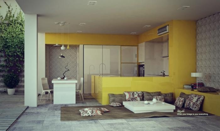 interior moderno decorado en colores claros y tono mostaza, salon moderno con decoracion de cojines motivos florales, cocina de verano