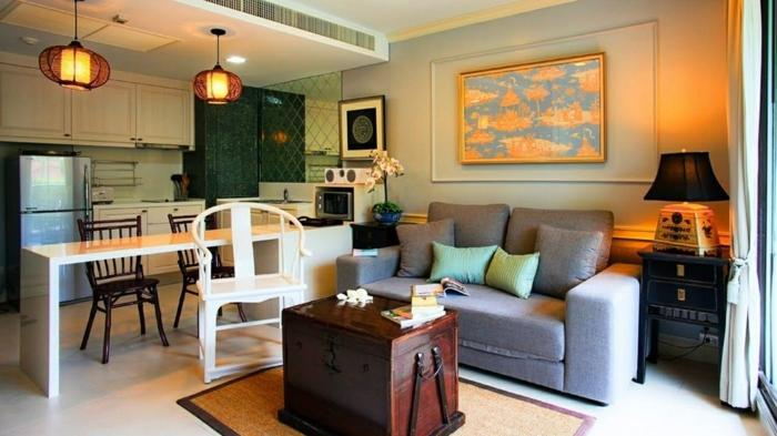 ideas para decorar cocinas abiertas al salón en colores cálidos, ambiente acogedor y hogareño, pintura precosa, cocina en estilo vintage