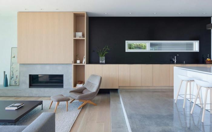 piso en estilo minimalisto, espacios separados sin puertas, cocinas abiertas al salón modernas, decoracion en los tonos del gris, beige y negro