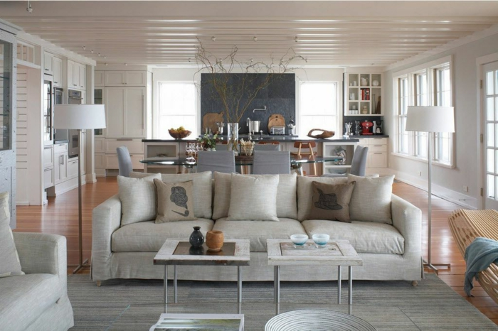 ideas para decorar el salon abierto a la cocina, cocinas abiertas al salón decoradas en colores claros, diseño de interiores moderno