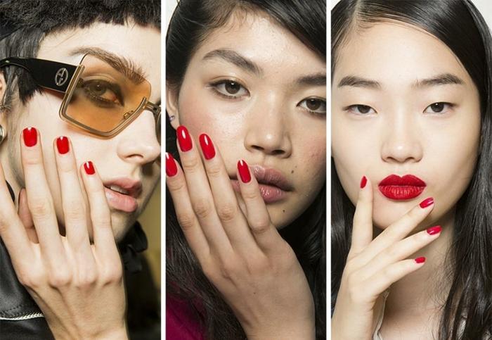 propuestas para uñas de diferente forma pintadas en rojo, decoracion de uñas sencilla, uñas pintadas en gel