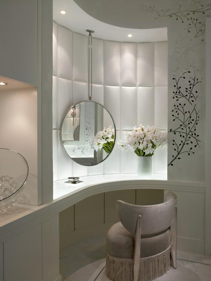 espejos para baños de encanto, bonita decoración para el cuarto de baño de espejos y flores