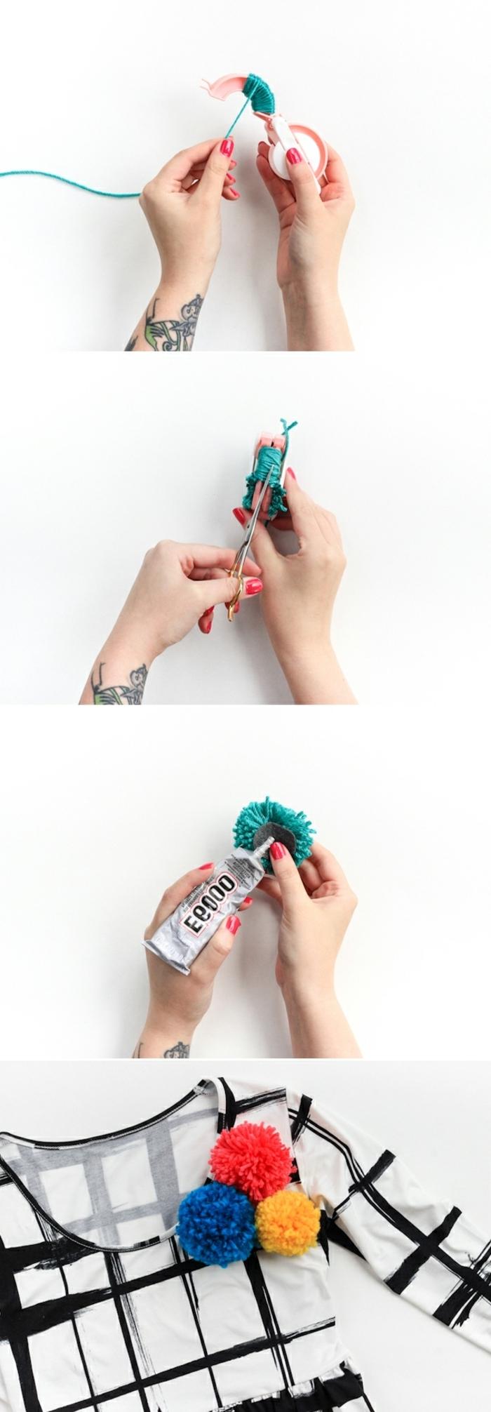 pasos para decorar un vestido con pompones de lana, manualidades con pompones fáciles de hacer y divertidas