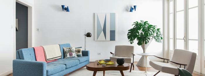 decoracion en estilo minimalista en blanco con detalles en azul, salones modernos decorados con plantas verdes