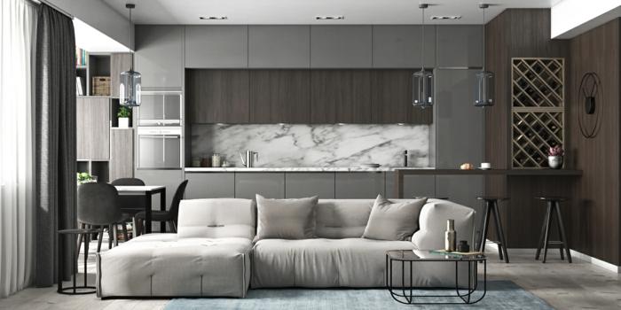 decoracion en estilo contemporáneo de cocinas abiertas al salón, colores oscuros y fríos, cortinas modernas y sofá comodo y funcional