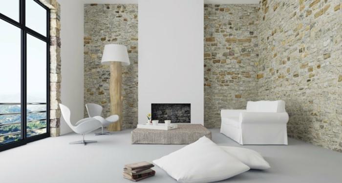 sala de estar con techo alto decorada en estilo escandinavo, decoración de salones modernos blancos