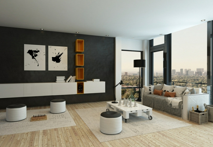 interior moderno con pequeños taburetes ovales y suelo de parquet, muebles en blanco gris y negro, decoracion salon moderno con vistas