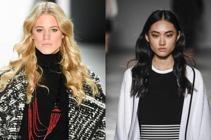 fotos de melenas con ondas surferas, dos modelos con largas melenas onduladas, tendencias peinados mujer 2018