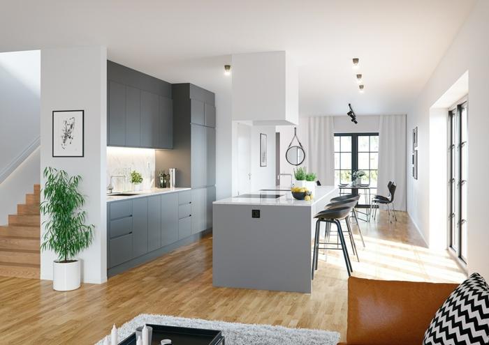 ideas para amueblar y decorar una cocina americana, decoracion en estilo escandinavo, armarios y barra en gris