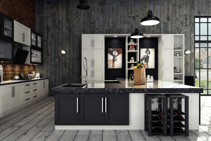 ambiente moderno en negro, gris y blanco, decoración con cuartos decorativos, cocina americana con grande barra multifuncional