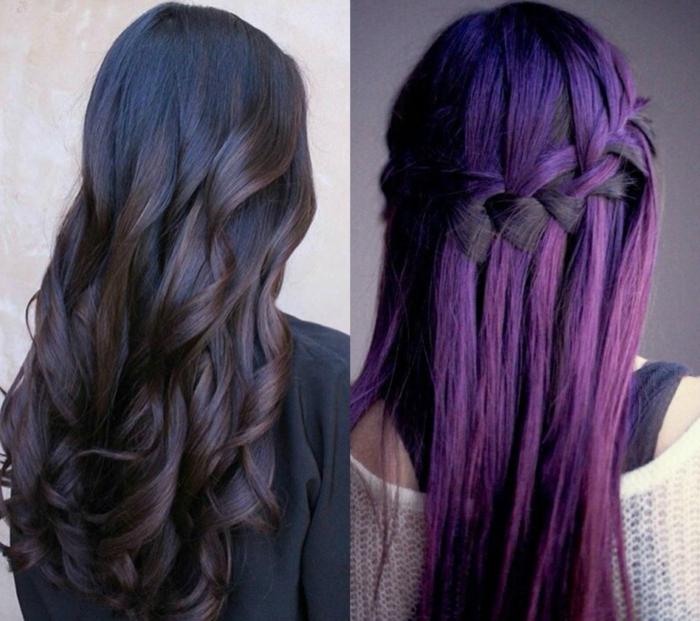 dos propuestas de melenas con californianas, pelo negro con mechas teñidas en castaño chocolate y violeta