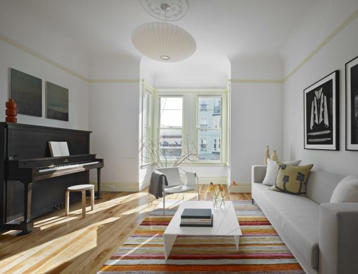sala de estar en blanco y gris, decoracion salon moderno en estilo minimalista, paredes en blanco y suelo de parquet
