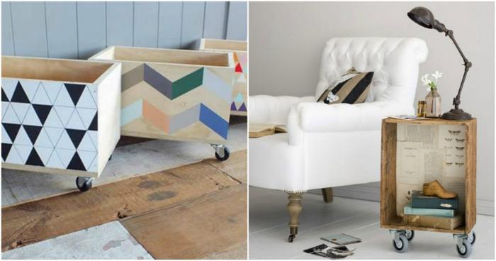 dos ejemplos de muebles de diseño muy original hechos de cajas decoradas, manualidades con materiales reciclados
