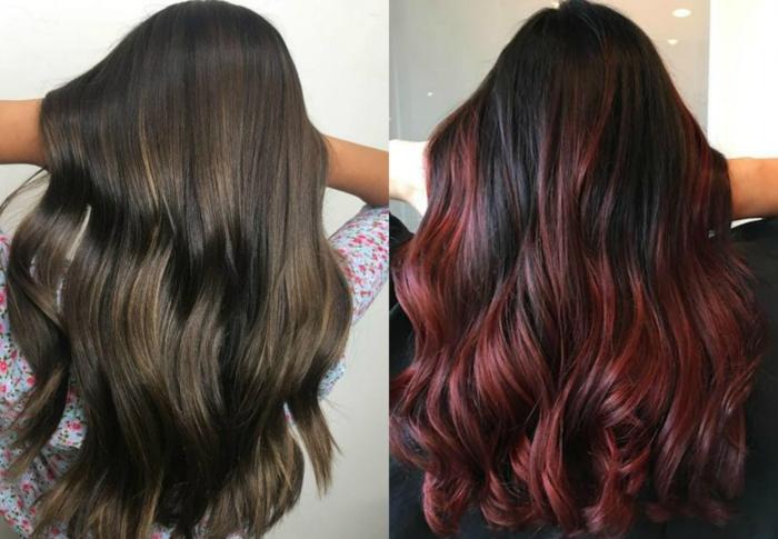 dos melenas onduladas en los tonos del marrón y el rojo, pelo largo en ondas con californianas en un tono más claro