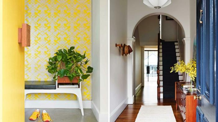 bonitas propuestas de recibidores ikea, recibidor decorado en amarillo llamativo, entradas decoradas con flores