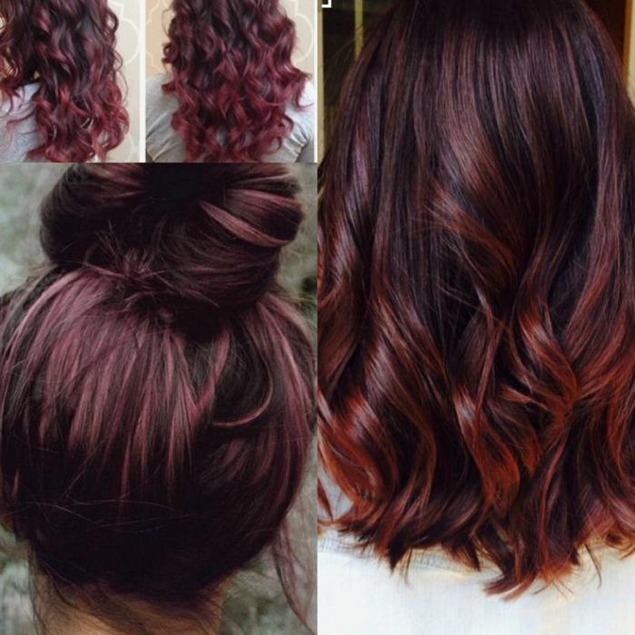 variantes de peinados, pelo largo ondulado en color castaño oscuro con mechas balayage color cereza