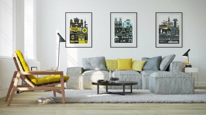 precioso diseño en estilo minimalista, salón decorado en gris y amarillo, cuadros decorativos en la pared en estilo contemporáneo